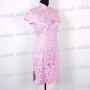 Chinese Cheongsam Floral Mini Dress Purple