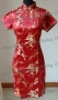 Chinese Cheongsam Mini Dress Wine Red
