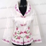 Chinese Embroider Floral Jacket Top White