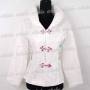 Chinese Embroidery Jacket Floral Top White