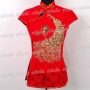 Chinese Peacock Blouse Jacket Shirt Red