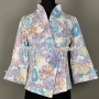 Chinese Style Womens Floral Jacket Simple Blazer Slim Coat Purpl