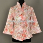 Chinese Style Womens Floral Jacket Elegant Blazer Slim Coat Pink