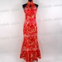 Elegant Cheongsam Evening Party Gown Red