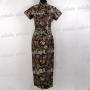 Elegant Floral Cheongsam Long Gown Black