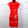 Elegant Floral Cheongsam Mini Dress Red