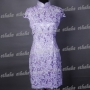 Floral Chinese Cheongsam Mini Dress Purple