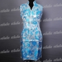 Floral V Neck Cheongsam Mini Dress Blue