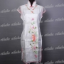 Ladies Floral Mini Dress Cheongsam White
