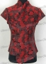 Satin Top Tunic Shirt Blouse Black/Red