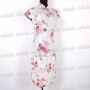 Women Cotton Mini Dress Cheongsam White