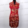 Women V Neck Mini Dress Cheongsam Burgundy