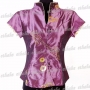 Womens Diamantes Top Shirt Blouse Purple